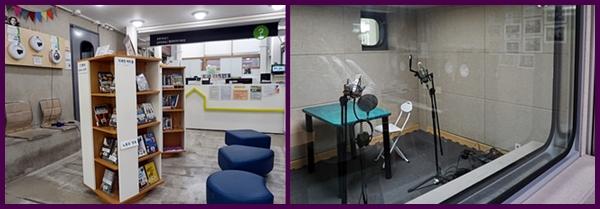 주민라디오 11명 청소년은 7명이 맡아 방송을 들려준다. 미디어자료실(왼쪽), 스튜디오 (오른쪽)