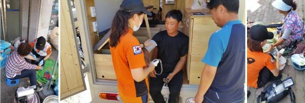 가평소방서 119구급대가 시장과 수상스키장 등을 찾아 체온,맥박,혈당 등을 체크하며 열사병 예방활동을 하고 있다.