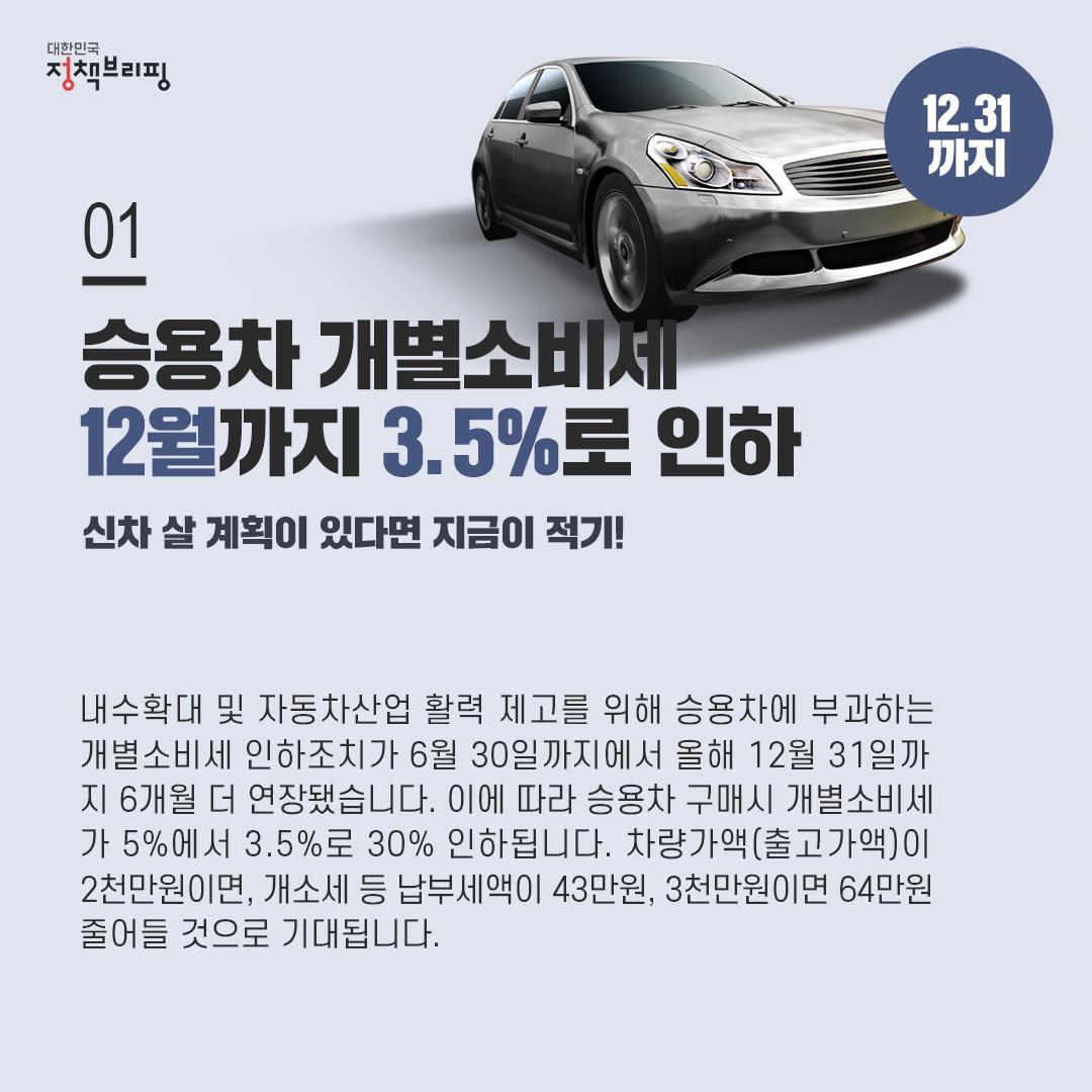 [주간정책노트] 올해 승용차 구입할 계획이라면?…개소세 5%→3.5%