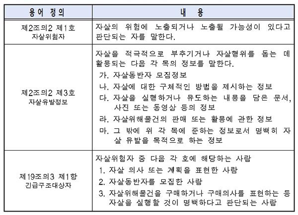 특별단속 관련 자살예방법 개정안 주요 내용.