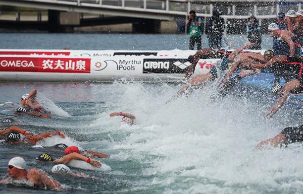 여수엑스포해양공원 오픈워터수영경기장에서 열린 광주세계수영선수권대회 오픈워터 수영 경기모습.