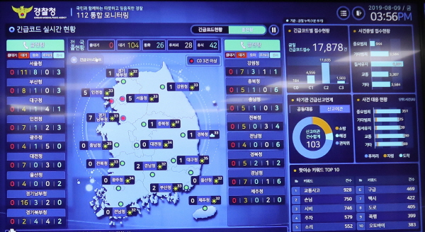 경찰청 112신고통합모니터링 시스템으로 전국 112신고를 모니터링하며 신속하게 상황을 관리하여 현장 대응력을 강화할 수 있다.