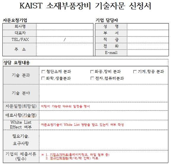 KAIST는 13일 소재·부품·장비 자문단 홈페이지(http://kamp.kaist.ac.kr)를 열었다. 기술자문을 원하는 기업은 홈페이지에서 기술자문 신청서를 내려받아 작성 후 사무국 이메일(smbrnd@kaist.ac.kr)로 제출하면 된다.
