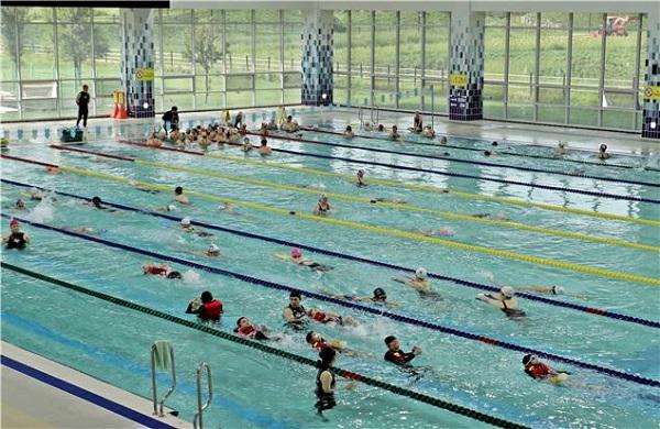 드림파크수영장에서 수영을 즐기고 있는 시민들