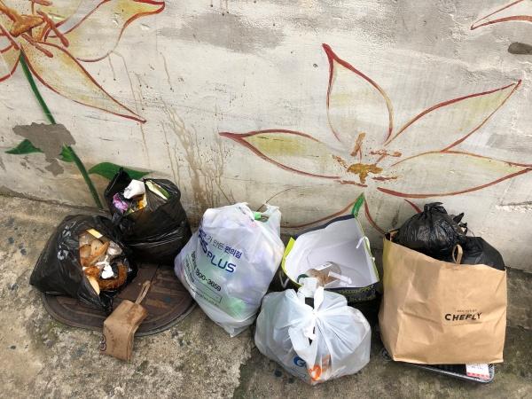 단독주택 입구에 버려진 쓰레기들. 분리수거가 어려운 음식물도 함께 섞여있다.
