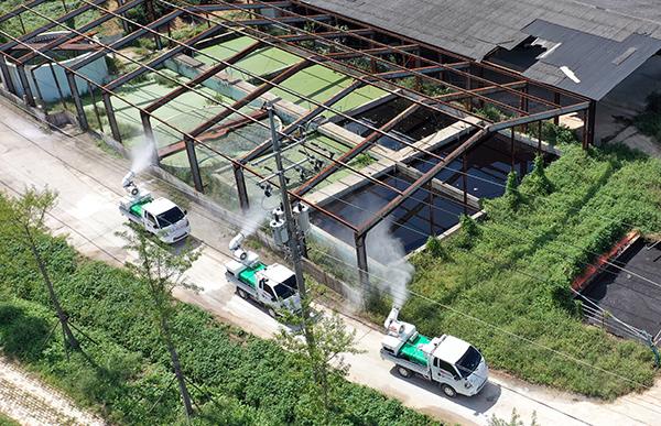전남 나주시 노안면의 한 집단 돼지 사육 마을에서 방역 작업이 이뤄지고 있다.(사진=저작권자(c) 연합뉴스, 무단 전재-재배포 금지)