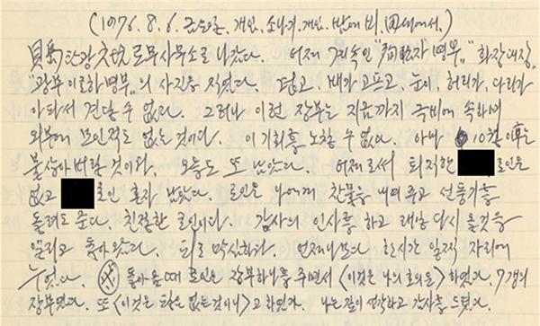 故 김광렬 선생 일기(1976.7.~8.) 원본. (사진=국가기록원 제공)