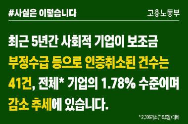 보조금 부정수급 등으로 인증취소된 사회적 기업 감소 추세