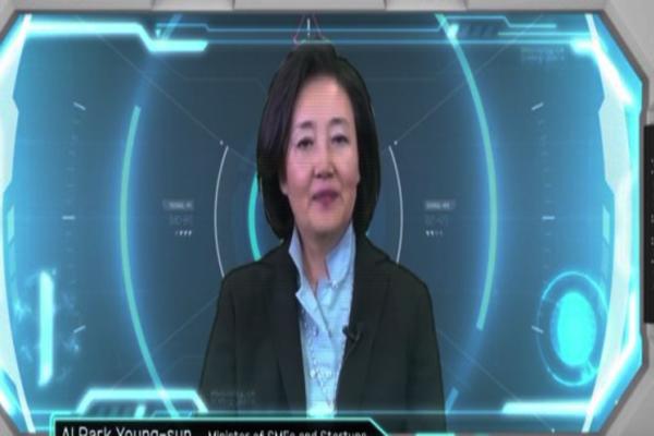 '한-아세안 스타트업 엑스포, 컴업(Come-up)' 개막식에는 인공지능(AI)으로 합성한 박영선 중소벤처기업부 장관의 동영상이 등장해 화제를 모았다.