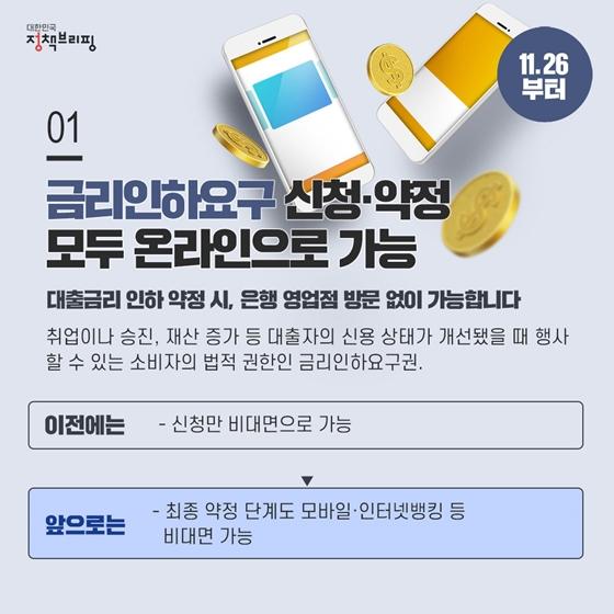 [주간정책노트] 금리인하요구 신청·약정 모두 온라인 가능