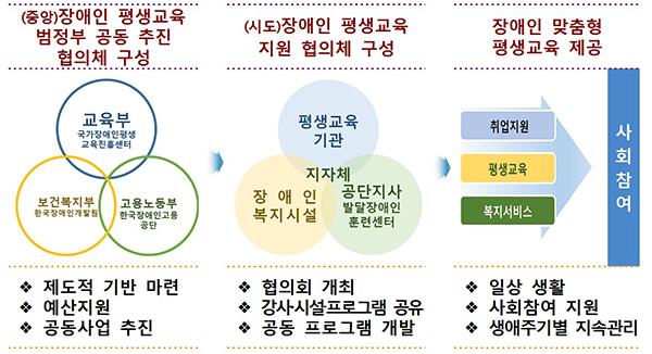 장애인 평생교육 지원 추진체계(안).