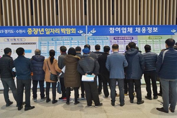 지난해 12월 열린 중장년일자리박람회에 65세 이상 어르신들도 많이 왔다.