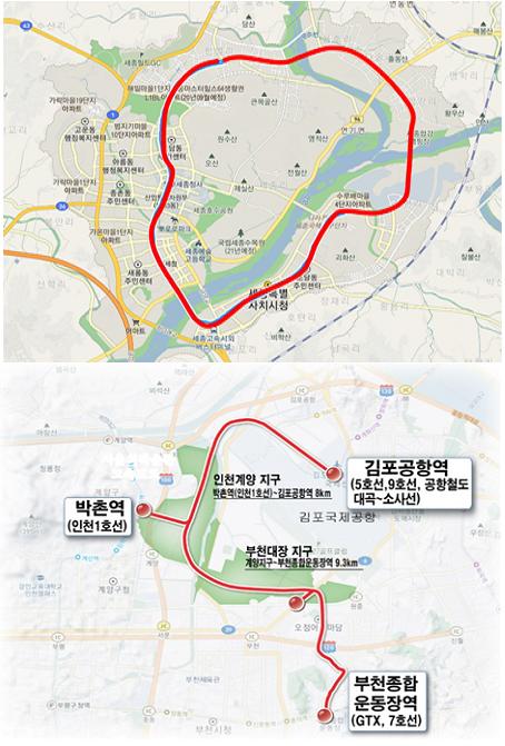 인천계양·부천대장과 세종의 'S(Super)-BRT' 시범사업 노선(안)