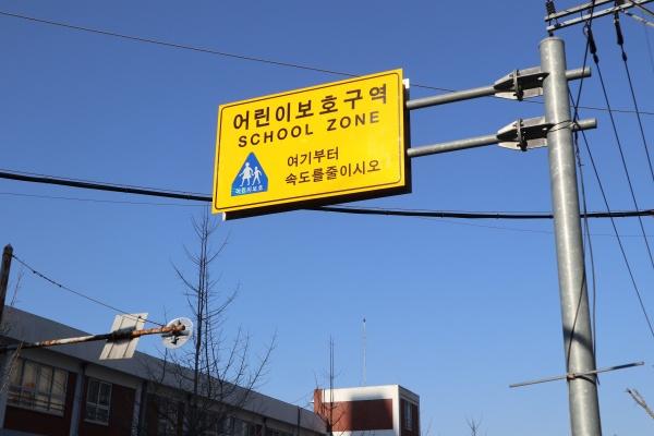 학교 앞 어린이보호구역.