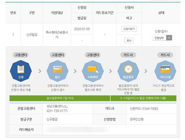 카드신청내역. 온라인으로 카드 진행상황을 확인할 수 있다.(사진 출처=고용노동부 HRD-Net 화면캡쳐)