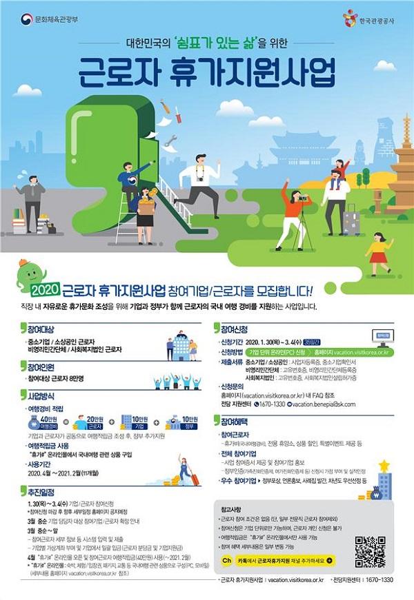 2020년 근로자 휴가지원 사업 모집 포스터