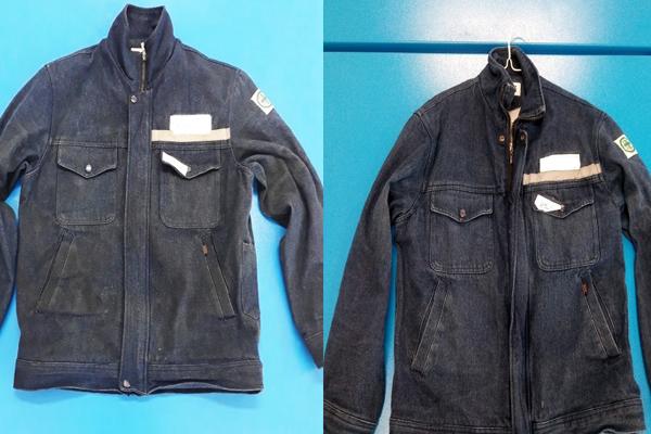 기름때 묻은 작업복이 세탁소의 따뜻한 손길을 거쳐 깨끗하게 변신한 모습.
