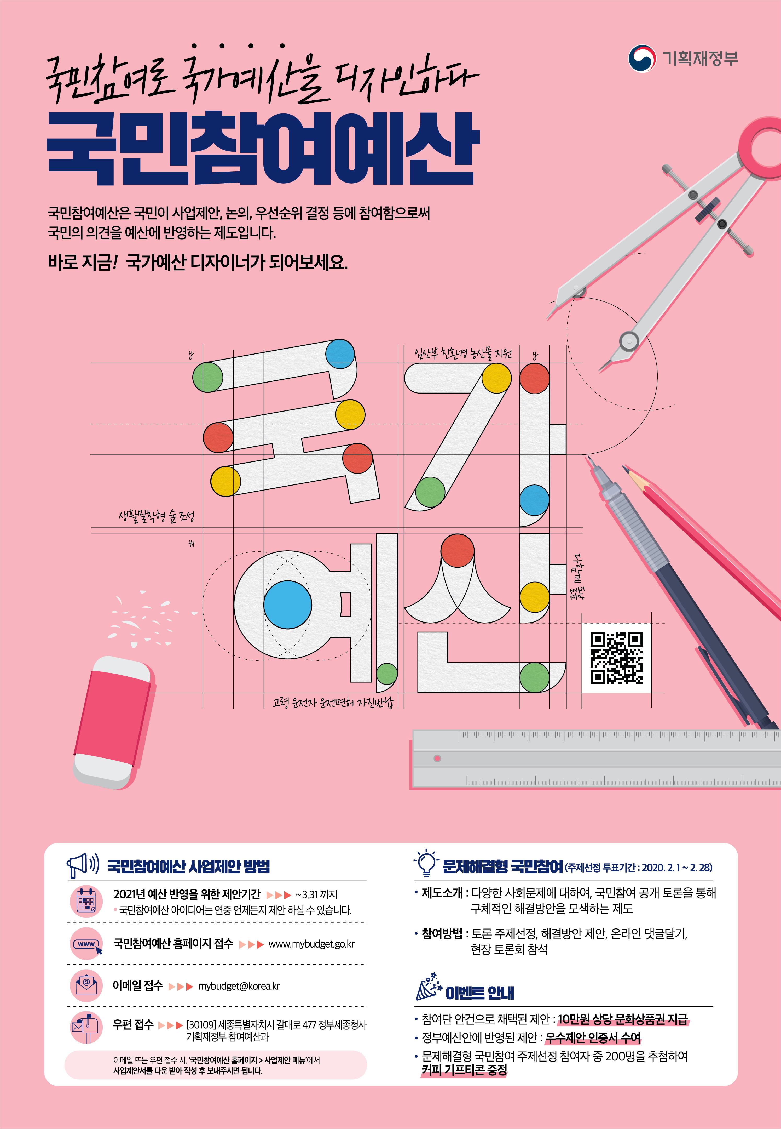 '국민참여로 국가예산을 디자인하다'라는 슬로건과 함께 국민참여예산을 소개한 포스터다.(출처=국민참여예산)