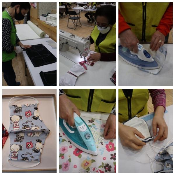 6단계에 걸친 면마스크 제작 과정.