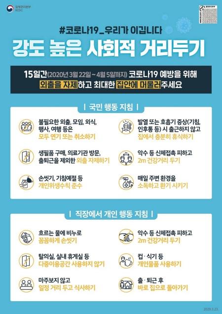 강화된 '사회적 거리두기' 지침 사항들.(출처 = 질병관리본부 블로그)
