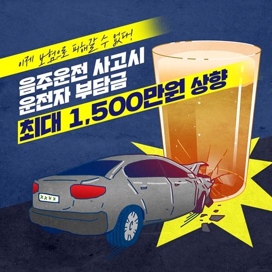 음주운전 사고시 운전자 부담금 최대 1,500만 원 상향