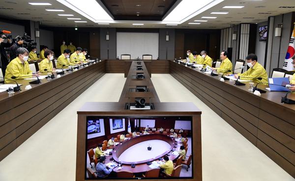 정세균 국무총리가 9일 정부세종청사에서 국정현안점검조정회의를 주재하고 있다.