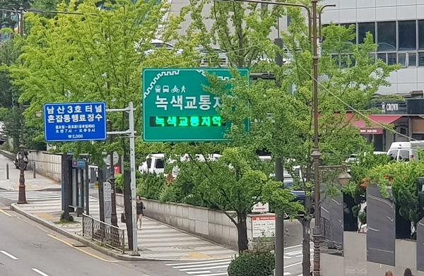 녹색교통구간을 설치해 차량을 통제했다.