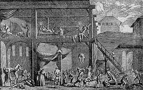 1679년 역병이 빈을 휩쓸 때의 병원 모습을 묘사한 당시 판화.