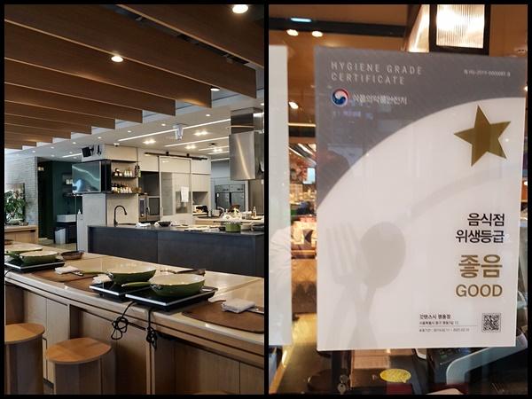 주방이 이렇게 보이는 곳이 아닌 이상(왼쪽), 음식점 위생등급제 표시가 돼 있으면 훨씬 안심된다.