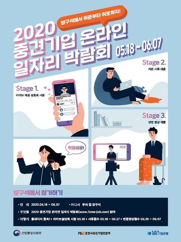 2020 중견기업 온라인 일자리 박람회 채용 포스터.