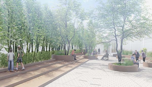 전북대병원 옥상에 조성될 예정인 실외정원의 계획안.