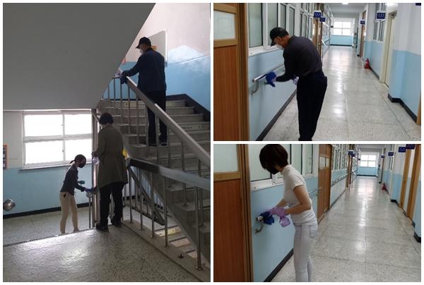 학교별 3명의 방역보조 인력이 지원돼 학교 방역활동에 큰 도움이 된다.