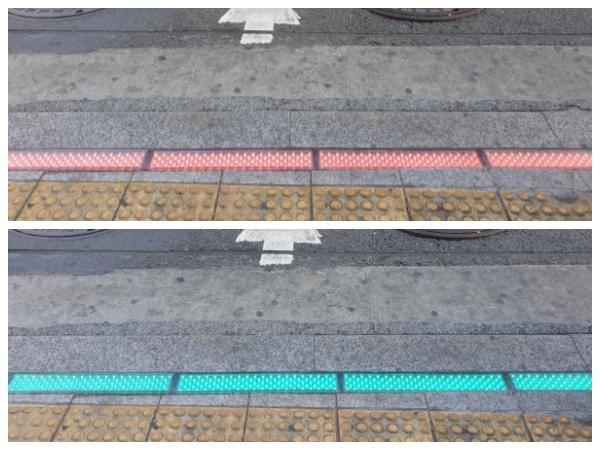 횡단보도 경계선에 표시된 바닥신호등.