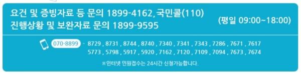 문의사항 및 관련 콜센터 전화번호.