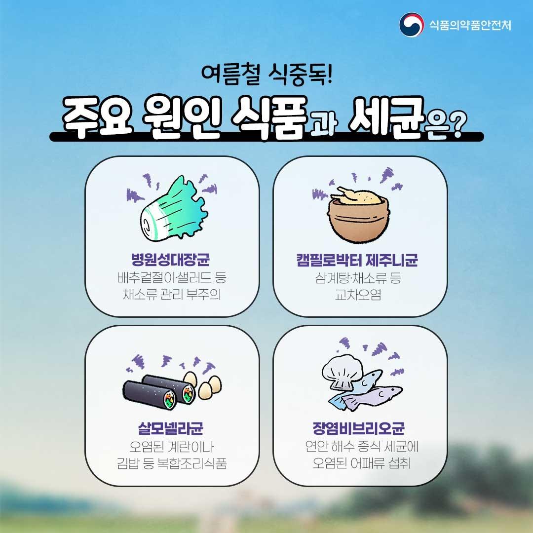 여름철 식중독! 주요 원인 식품과 예방법은?