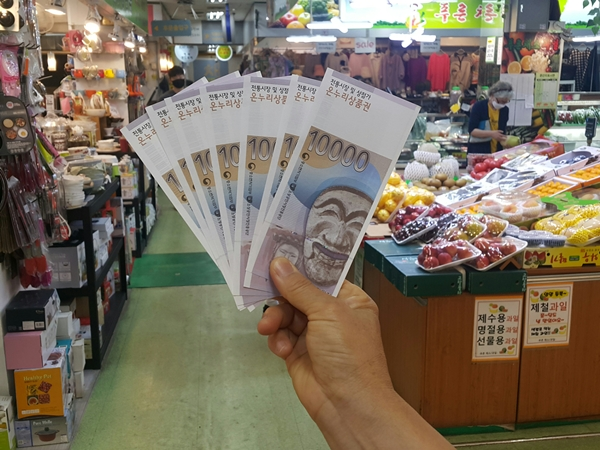 전통시장에서는 동행세일 기간 중 판매 금액의 20%를 온누리 상품권으로 최대 4만 원까지 페이백 형태로 지급한다. 페이백 행사는 지역마다 다르다.