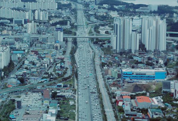 경찰청 헬기에서 본 신갈IC 인근 경부고속도로의 모습.