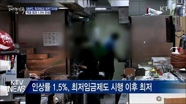 내년도 최저임금 8천720원···역대최저 1.5% 인상