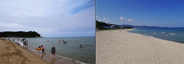 강원 양양군의 '북분 해수욕장'(왼쪽)과 강원 동해시의 '노봉 해수욕장'.