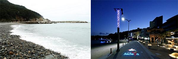 '여차해변 해수욕장'의 까만 몽돌(왼쪽)과 '남일대 해수욕장'의 야간 조명 장식.