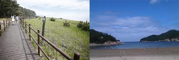 산책하기 좋은 데크가 있는 충남 태안군 '기지포 해수욕장'(왼쪽)과 아이들과 즐기기 좋은 조건을 갖추고 있는 전북 부안군 '위도 해수욕장'.