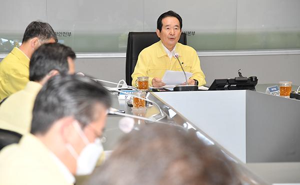 정세균 국무총리가 22일 정부서울청사에서 열린 코로나19 중대본 회의에서 발언하고 있다.