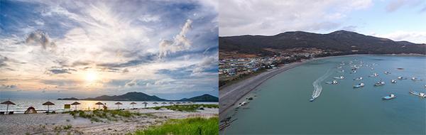 이번에 한적한 해수욕장으로 선정된 전남 신안군의 '짱뚱어 해수욕장'(왼쪽)과 전남 완도군의 '예송 해수욕장'.