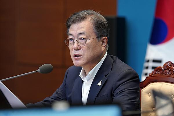 문재인 대통령이 27일 오후 청와대에서 수석·보좌관 회의를 주재하고 있다. (사진=청와대)
