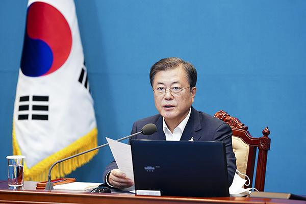 문재인 대통령이 10일 오후 청와대에서 수석·보좌관 회의를 주재하고 있다. (사진=청와대)