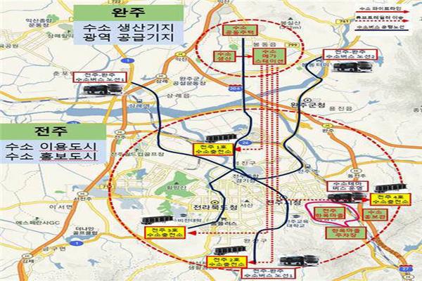 전북 전주와 완주의 수소시범도시 계획도. <사진=국토교통부 제공>