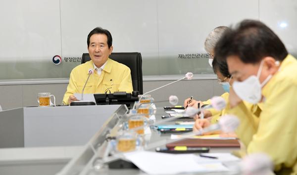 정세균 국무총리가 19일 서울 세종로 정부서울청사에서 열린 코로나19 중대본 회의에서 발언하고 있다.