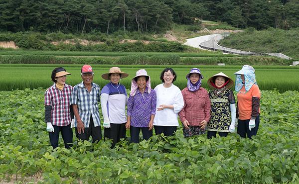 서현정 콩사랑 대표(오른쪽 네번째)가 싸리재마을 어르신과 함께 밭에서 밝게 웃고 있다. (사진=농업회사법인 콩사랑 제공)