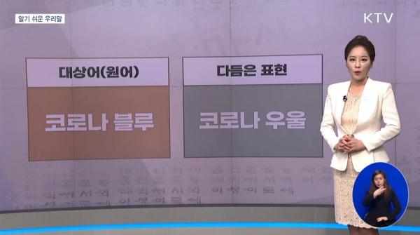 '코로나 블루'를 다듬은 표현 '코로나 우울'(출처=KTV 캡처)