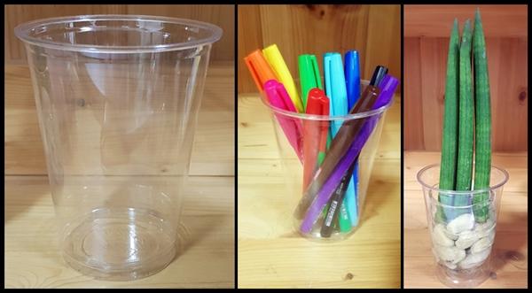 편의점 플라스틱 컵으로 여러가지를 할 수 있다. 색을 알아보기 쉬운 펜 통이나 화분으로 쓰기 좋다.